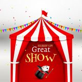 Circus show event poster. Circus tent vector illustration for carnival amusement with flag. Festival arena tent stock illustration