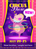 Circus show poster or flier with a hippo royalty free illustration