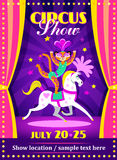 Circus show poster or flier with a leopard on the horse Royalty Free Stock Image