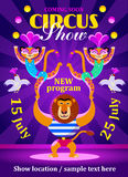 Circus show poster or flyer with a lion and two leopards Royalty Free Stock Images