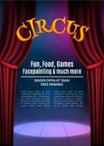 Circus show poster template with sign. Festive Circus invitation. Vector carnival show background illustration Stock Image