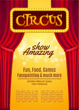 Circus show poster template with sign and light frame. Festive Circus invitation. Vector carnival show illustration Royalty Free Stock Photography
