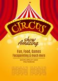 Circus show poster template with sign and light frame. Festive Circus invitation. Vector carnival show illustration vector illustration