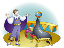 Circus show seals. Vector drawing. Circus show: smart trainer asks seals throw colorful ball Stock Image