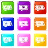 Circus show tickets set 9. Circus show tickets icons of 9 color set isolated vector illustration Stock Images