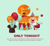 Circus show only tonight promotional poster with animals and clown. Circus show only tonight promotional poster with trained animals such as lion and rabbit, and Stock Photo