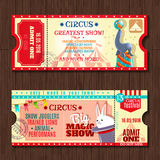 Circus show two vintage tickets set. Circus big magic show with trained animals two vintage entrance tickets templates set abstract  vector illustration Stock Photos