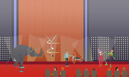 Circus show vector illustration in flat style. Circus show vector illustration. Animal show with trained elephant and dog, aerial acrobats and clowns performing Royalty Free Stock Images