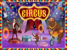 Big top circus show magician, animals performance. Circus show vector poster, trick illusionist, animal tamer and acrobats. Vector big top circus retro signboard stock illustration