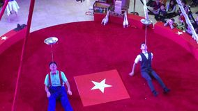 Circus show video in red ring stock footage