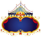 Circus sign. A circus frame with a big top and a large blue copy space for your message Royalty Free Stock Photos