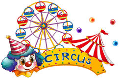A circus signboard with a clown and a tent Stock Images