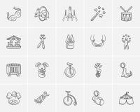 Circus sketch icon set. Royalty Free Stock Photo