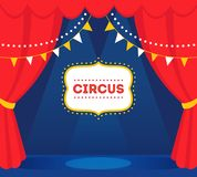 Circus Stage with Lights, Red Curtains and Marquee Sign. Vector Design.  Stock Images