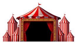 Circus Stage. Tent design element as a group of big top carnival tents with a red curtain opening entrance as a fun entertainment icon for a theatrical