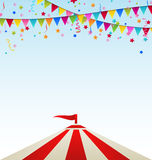 Circus striped tent with flags vector illustration
