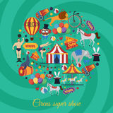 Circus Super Show Icons Stock Image
