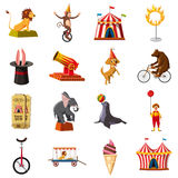 Circus symbols icons set, cartoon style Royalty Free Stock Photo