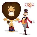 Circus tamer and lion posing. Tamer in red suit and high hat and lion on pedestal smiling and posing on arena in circus drawn in cartoon style Stock Photos