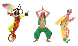 Circus team. Funny looking circus comedians with different poses on white Stock Image