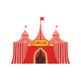 Circus Temporary Tent In Stripy Red Cloth With Flags And Entrance Sign Royalty Free Stock Photography
