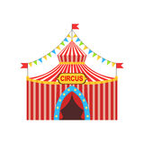 Circus Temporary Tent In Stripy Red Cloth With Flags, Garlands And Entrance Sign Royalty Free Stock Photo