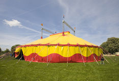 Circus tent. In yellow and red Royalty Free Stock Photo