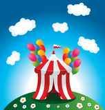 Circus tent. Illustration of circus tent with colorful balloons Royalty Free Stock Images