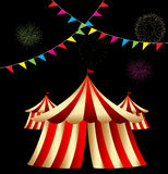 Circus Tent. At night black background with fireworks stock illustration