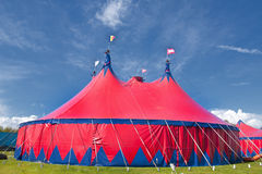 Circus tent. Big colourful circustent against a deep blue sky Stock Photography