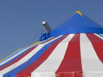 Circus tent. Red blue and white striped roof of a circus tent stock photography