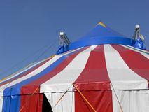 Circus tent. Red white and blue striped tent of a circus stock photos