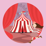 Circus tent amusement park kid girls children open curtain. Vector Royalty Free Stock Photo