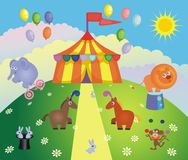 Circus tent and animals Royalty Free Stock Image