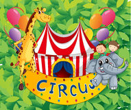 A circus tent with animals and kids Royalty Free Stock Photos