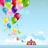 Circus tent and balloons. With space for text Stock Photography