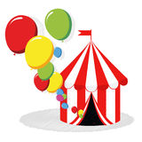 Circus tent and balloons vector. Vector illustration of a circus tent and colorful balloons on white background Royalty Free Stock Photos