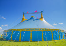 Circus tent. Blue and yellow circus tent Royalty Free Stock Image