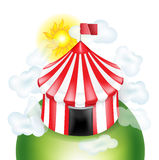 Circus tent with coulds and sunny sky isolated on white vector illustration