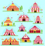 Circus tent facade marquee marquee stripes flags carnival entertainment balloons lelements flat illustration. Circus red. Tents entertainment. Carnival festival stock illustration
