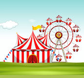 Circus tent and ferris wheel on the ground. Illustration Stock Photos