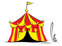Circus tent with flag. Striped circus tent with flag isolated on white background royalty free illustration