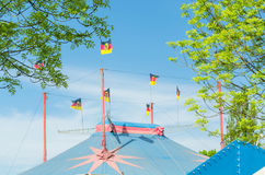 Circus tent with flags Stock Photos