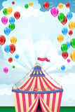 Circus tent and flying balloons - place for text. Abstract striped circus tent and flying balloons and bubbles - place for your text. Party invitation. Vector Royalty Free Stock Photos