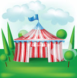 Circus tent on grass background Stock Photos