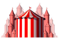 Circus Tent Group Element. Concept in a horizontal carnival composition as an entertainment and amusement symbol for a festive special event celebration Stock Photo