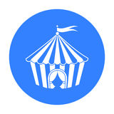Circus tent icon in black style isolated on white background. Circus symbol stock vector illustration. Stock Image