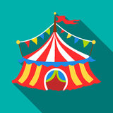Circus tent icon, flat style Royalty Free Stock Photography