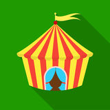 Circus tent icon in flat style isolated on white background. Circus symbol stock vector illustration. Royalty Free Stock Image