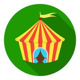 Circus tent icon in flat style  on white background. Circus symbol stock vector illustration. Stock Image